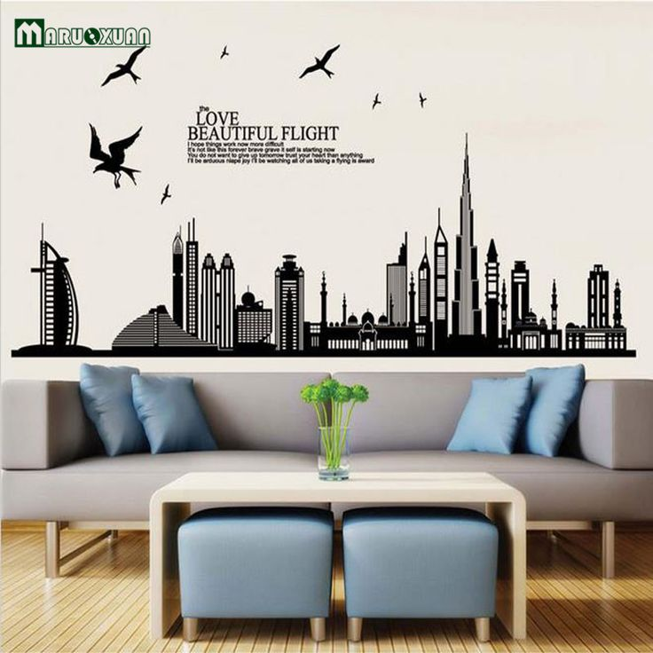 Hot Style Wholesale The Sitting Room The Bedroom Wall Stickers Dubai City Building TV Setting Home Decor