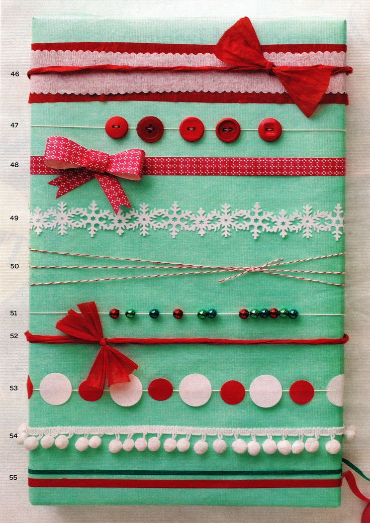 For the holidays wrap your solid wrapping paper with one or more of these 10 ideas....my favorite is the buttons on a string!