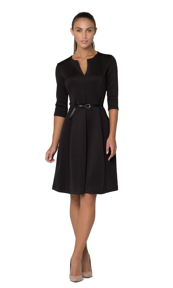 Gored dress in black available in sizes 8-16. $245 #leinabroughton