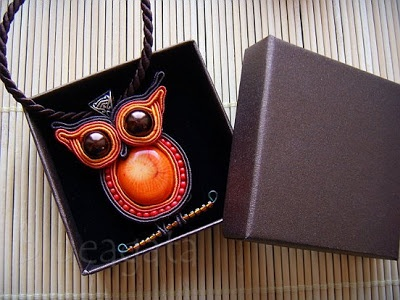 soutache pendant - owl with orange coral