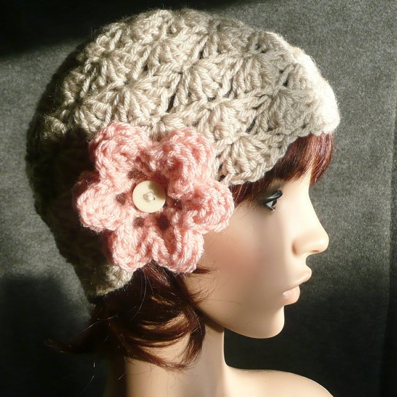 Shell Pattern Cap or Beanie in Linen with Pink Flower by HiJinx, $18.00
