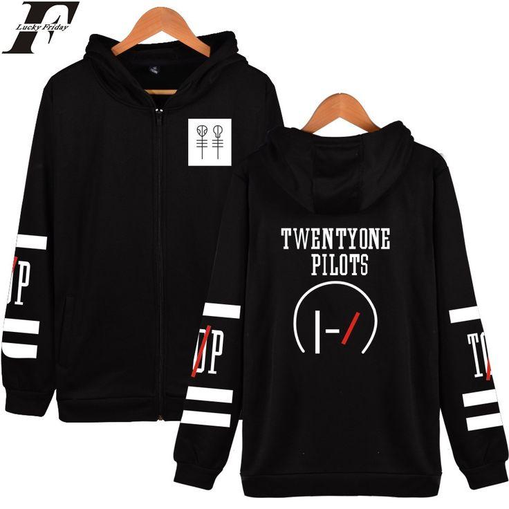 LUCKYFRIDAYF Twenty One Pilots Hooded Hoodies Men Zipper Rock Band Hip Hop Mens Hoodies And Sweatshirts Fashion Funny Clothes
