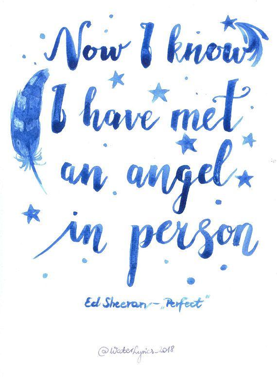 Ed Sheeran Perfect Watercolor Lyrics Art