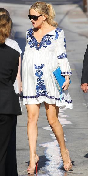 CHINA GIRL  Kate Hudson's waistline may be expanding, but she still has the best gams in the business – and proves it in a delicately embroidered blue-and-white Emilio Pucci tunic and sky-high nude platform heels en route to Jimmy Kimmel Live! in L.A.