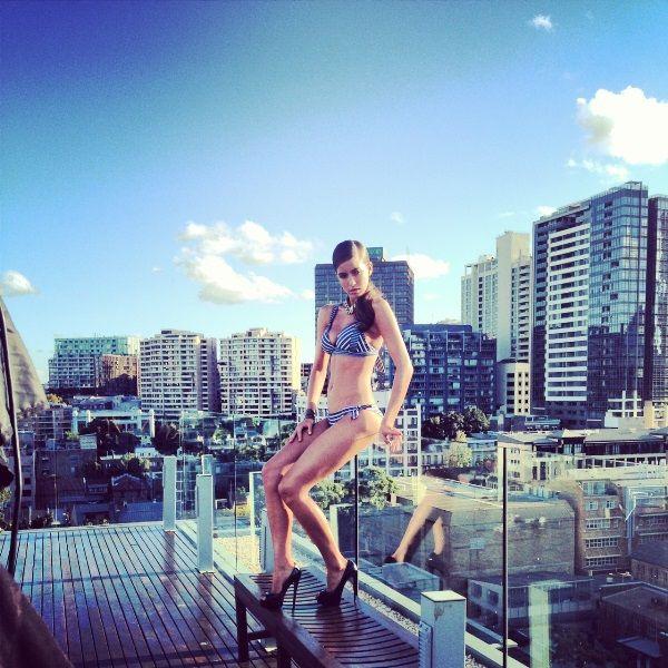 Jayde strikes a pose in the retro-inspired Tempo bikini top and reversible bikini pant