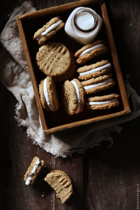 Favorite Pins – Holiday Cookie Baking – Peanut Butter Marshmallow Sandwich Cookies   saltandwind.com #saltandwind