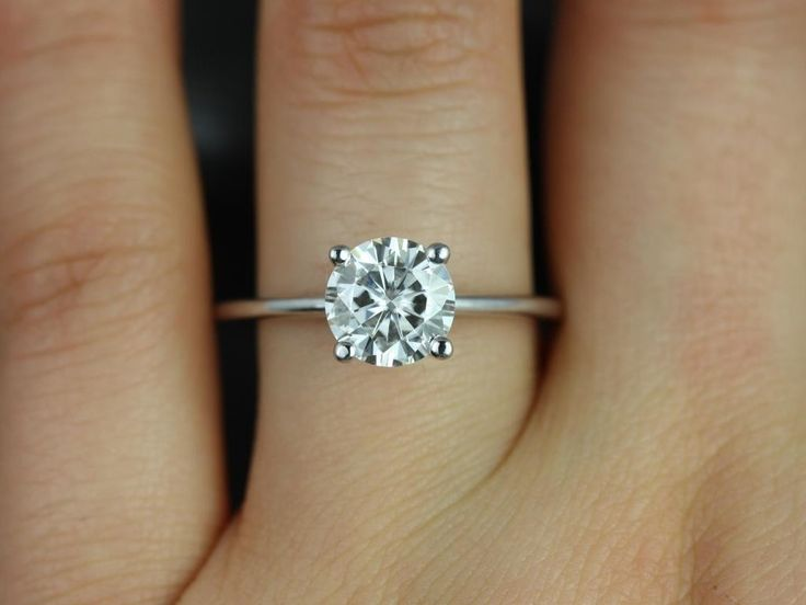 Skinny Alberta 7.5mm White Gold Round FB Moissanite Tulip Solitaire Engagement Ring