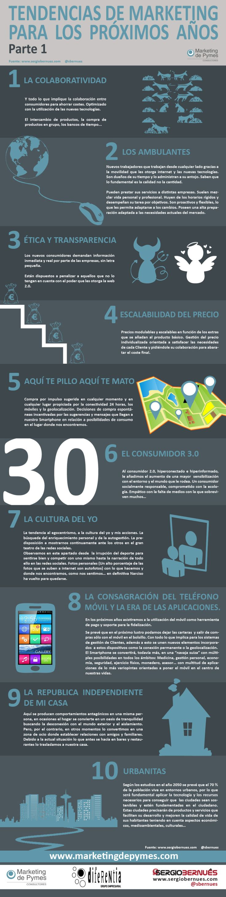 TENDENCIAS DE MARKETING PARA LOS PRÓXIMOS AÑOS (I) #INFOGRAFIA #INFOGRAPHIC #MARKETING