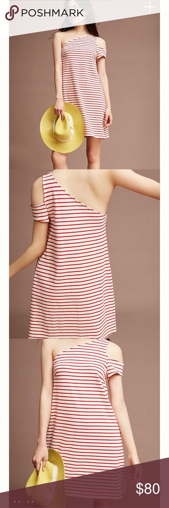 """Anthropologie Marketa One Shoulder Dress An oh-so-flattering open-shoulder elevates this classic nautical dress. Pair with laid-back slides and a chic summer hat for the ultimate warm-weather ready look.  Cotton Open-shoulder, a-line silhouette Pullover styling Hand wash Imported Style No. 4130339186037 Dimensions Regular falls 25.5"""" from shoulder Petite falls 23.75"""" from shoulder Model Notes Model is 5'10"""" Anthropologie Dresses"""