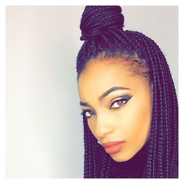 65 Box Braids Hairstyles for Black Women ❤ liked on Polyvore featuring hairstyles