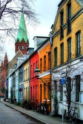 Byggeforenings huse, Copenhagen. Built for workers in 1893. The idea of providing good and healthy homes for the poorest part of the city's workforce originated among local politicians and medical doctors during the 1853 Copenhagen cholera outbreak