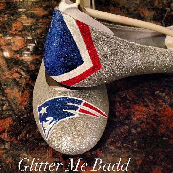 New England patriots inspired Glitter flats by Glitter Me Badd