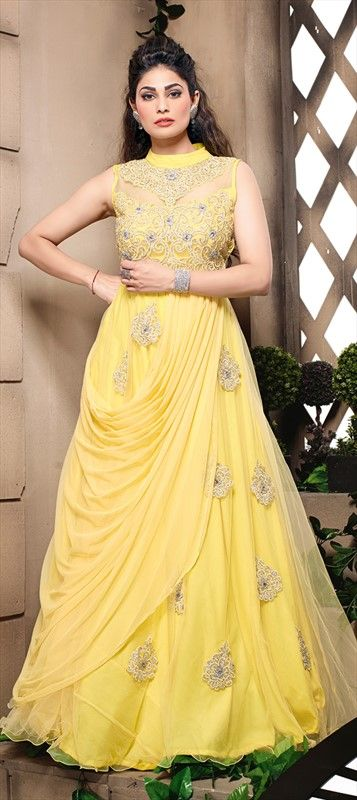 418708: #Anarkali Suits, Net, Machine #Embroidery #Yellow #gown #Ballgown #onlineshopping #Partywear #Wedding #Bridal