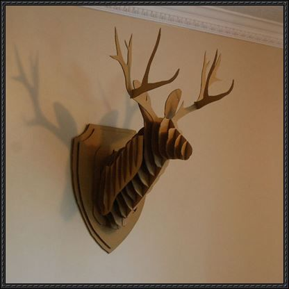 Another cardboard deer head wall hanging template and for Free cardboard taxidermy templates