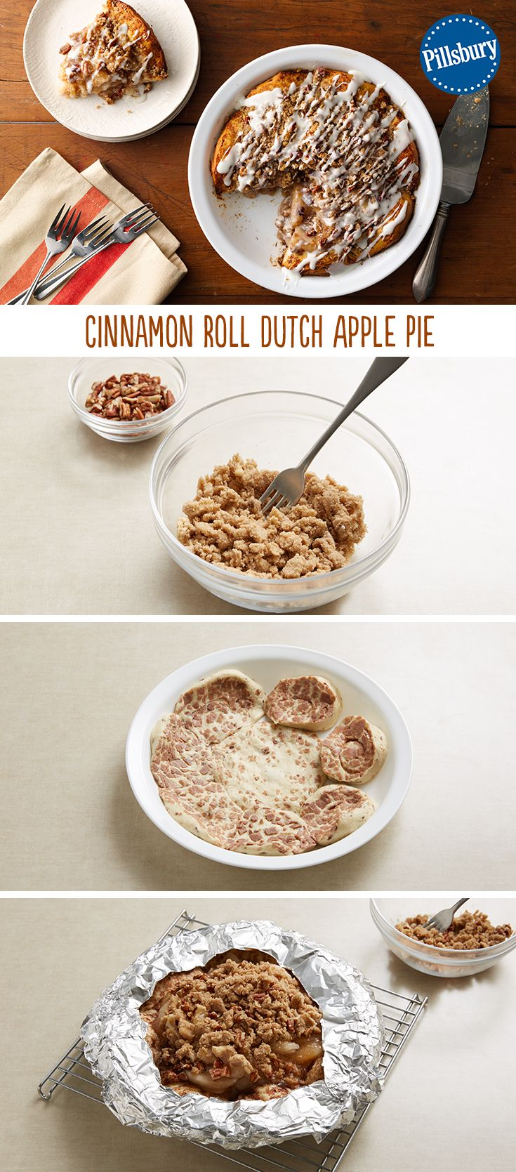 An apple pie with a cinnamon roll crust? Yes, please! Can be served as a dessert or for an extra special brunch, should you wish! You'll love this easy to make Cinnamon Roll Dutch Apple Pie recipe for the holidays.