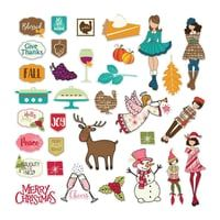 Heidin Korttipaja Prima Marketing - Julie Nutting Ephemera Cardstock Die-Cuts, November & December 4,40 e