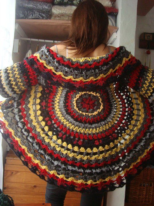 Patrones para Crochet: Chaleco Circular Arco Iris Patron