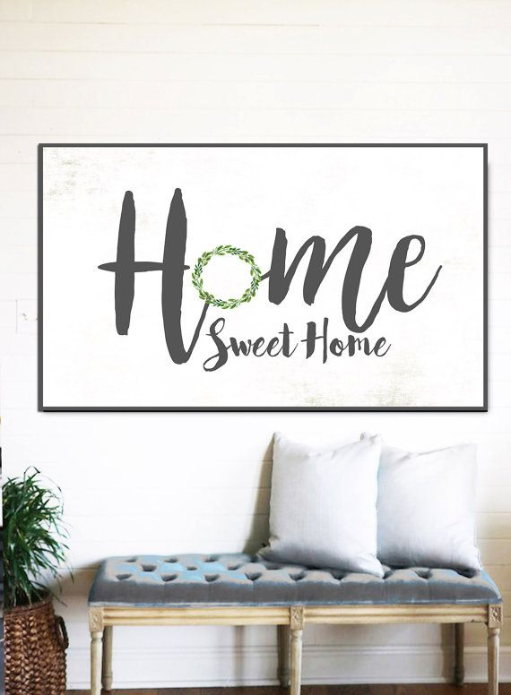 Home Sweet Fixer Upper Decor Gift For Her Wreath Sign Family Name Rustic Canvas Farmhouse In 2018