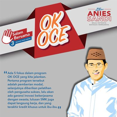 Janji Manis Bantuan Modal OK OCE Yang DiKampanyekan Anies Sandi Berakhir Dengan Kekecewaan  ForumViral.com - Pada masa Pilkada DKI Jakarta 2017, Anies Baswedan dan Sandiaga Uno mengampanyekan salah satu program unggulan mereka, yakni pelatihan kewirausahaan One Kecamatan One Center for Entrepreneurship atau OK OCE.  #OKOCE #Anies #Sandi #Modal #OK #OCE  Selengkapnya http://www.forumviral.com/2017/12/janji-manis-bantuan-modal-ok-oce-yang.html