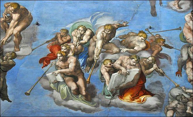La Chapelle Sixtine au Vatican -Les anges de l'apocalypse - La fresque du jugement dernier : située sur le mur derrière l'autel, il s'agit de l'autre chef d'œuvre de Michel-Ange. Réalisée entre 1536 et 1541