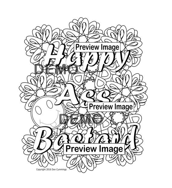 Happy Ass Bastard Swear Word Coloring By SwearingAndColoring