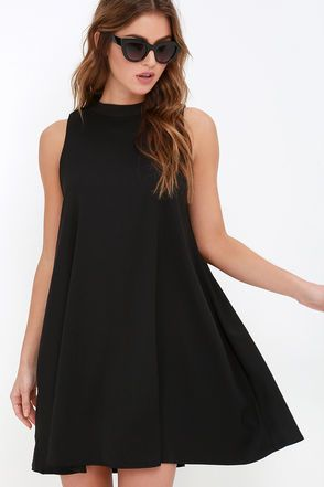 LuLu*s Exclusive! Your new favorite pastime will be all the ways you can style the Sway Time Black Swing Dress! This closet essential, composed of sleek woven poly, features a chic mock neck atop a flaring swing bodice. Hidden back zipper/hook clasp.