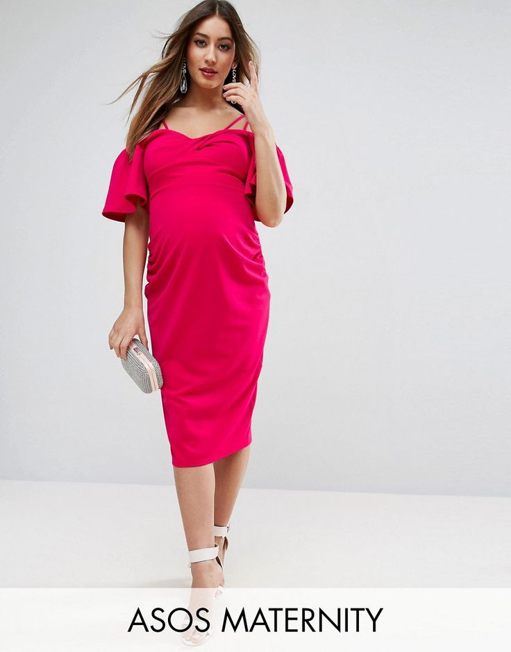 ASOS Maternity Crepe Twist Front Midi Dress with Trumpet Sleeve - Pink