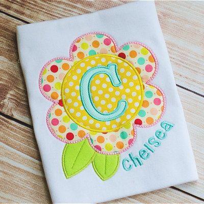 Flower Alphabet Applique Shirt for Girls Boys by PreciousDarlings, $20.00