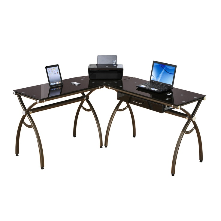 Loft Chic L-shape Tempered Glass Computer Workstation Desk | Overstock.com
