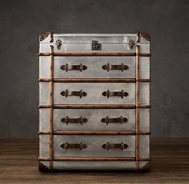 Restoration Hardware Metal Trunk Dresser To Decorate