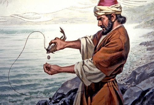 * MIRACLES OF JESUS CHRIST * (Catching a fish with a coin in its mouth)  During a time when Jesus and Peter were in the town of Capernaum, which is in the region of Galilee in the northern part of the Biblical land of Israel, tax collectors approached Peter and asked for taxes for the Temple.  Jesus told Peter to catch a fish and that the first fish he would catch would have enough money in its mouth to pay the taxes for Peter and Jesus. The first fish that he caught had a four-drachma coin…