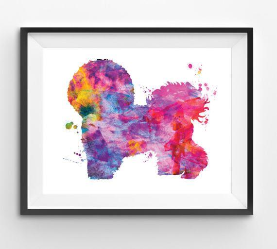 Colorful Bichon Frise Watercolor Print Dog Print Dog Digital