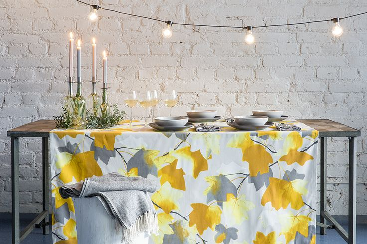 Vaahtera Table Cloth | Pentik Autumn 2017 | Designed by Minna Niskakangas, Vaahtera (Maple) pattern captures the strong and impressive autumn glow. Vaahtera charms in yellow and orange colours.