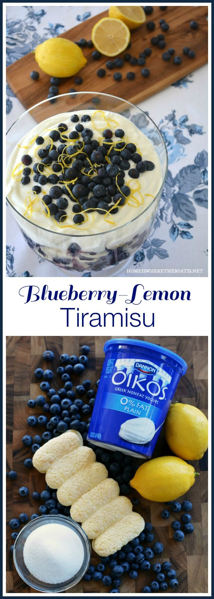 Blueberry-Lemon Tiramisu is a twist on tiramisu starring blueberries as a heart-smart ingredient! Nonfat Greek yogurt takes the place of the traditional ingredients of heavy cream, egg yolks, and mascarpone cheese, resulting in a healthier, light and summery dessert. | Home is Where the Boat Is
