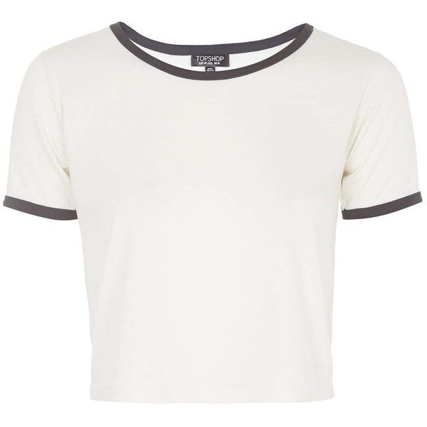 TOPSHOP Contrast Trim Tee (505 NIO) ❤ liked on Polyvore featuring tops, t-shirts, shirts, crop tops, cream, crop tee, t shirts, crop top, white crop shirt and white t shirt
