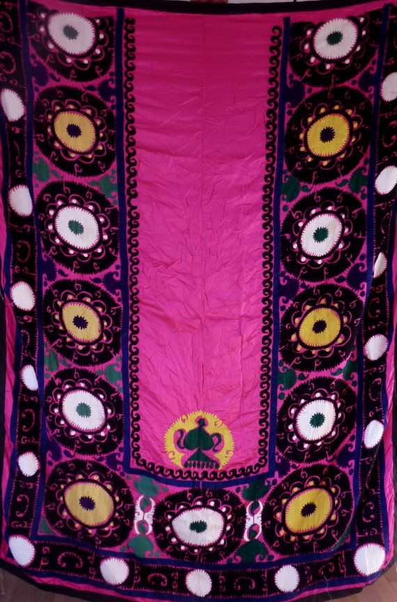 Suzani Handbestickter pinker Wandbehang aus von neemaheTribal