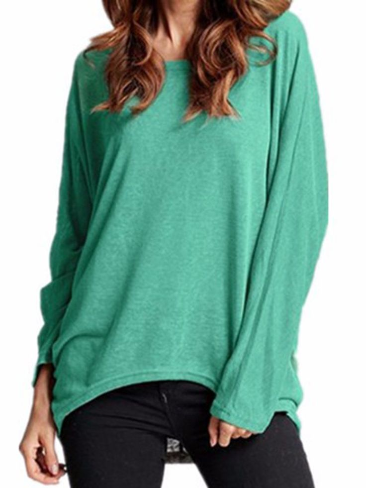 Casual Basic Solid Color Bat Long Sleeve Plus Size Blouse