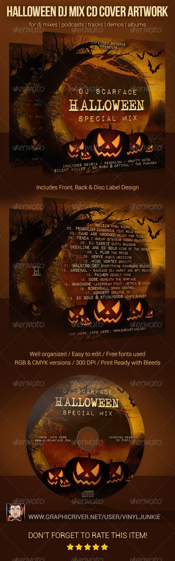 Various deep house stories vol 10 at juno download - Halloween Dj Mix Cd Cover Artwork Template