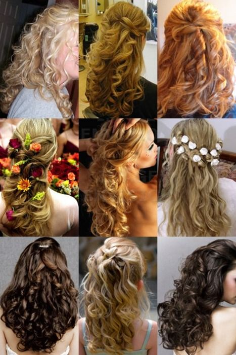 Love these hairstyles-- perfect for a wedding: Hair Beautiful, Hair Down, Hair Ideas, Long Hair Style, Inspiration Boards, Curls, Hairdown, Long Curly Hair, Wedding Hairstyles