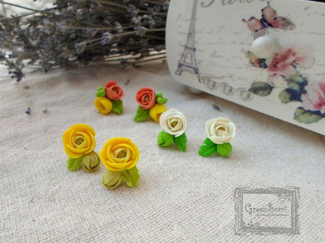 raunculus polymer clay earrings