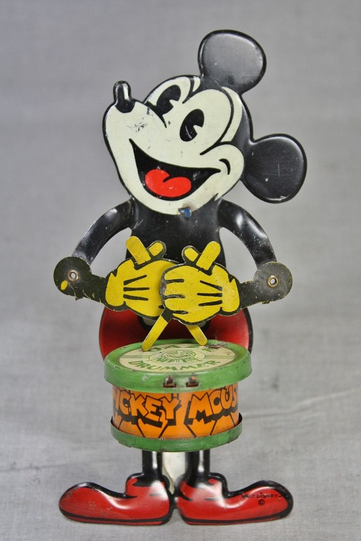 Nifty Mickey Mouse Drummer Tin Toy from 1920s ebay