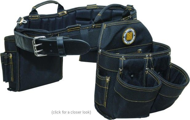 Electricians Combo belts include: Molded Air-Channel Support Belt, Electrician's tool pouch, large 9 pocket tool pouch, hammer holster and tape holder.