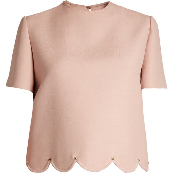 Valentino Rockstud-embellished scalloped-hem wool-blend top found on Polyvore featuring tops, blusas, shirts, pink, pink top, tailored shirts, valentino shirt, embellished shirt and scalloped shirt
