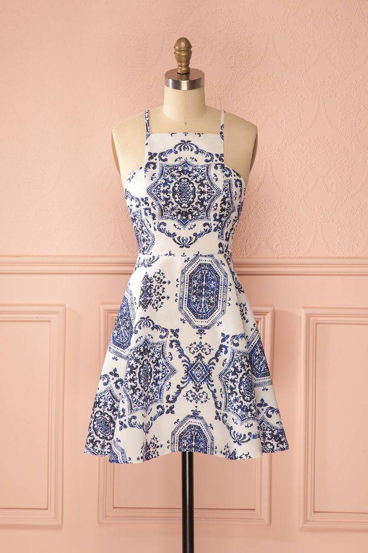 Robe trapèze blanche imprimé bleu - White a-line dress blue print