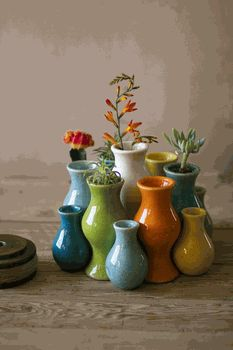 S/13 Multi-Color Ceramic Bud Vases. Something like this would make a really festive toothbrush holder.