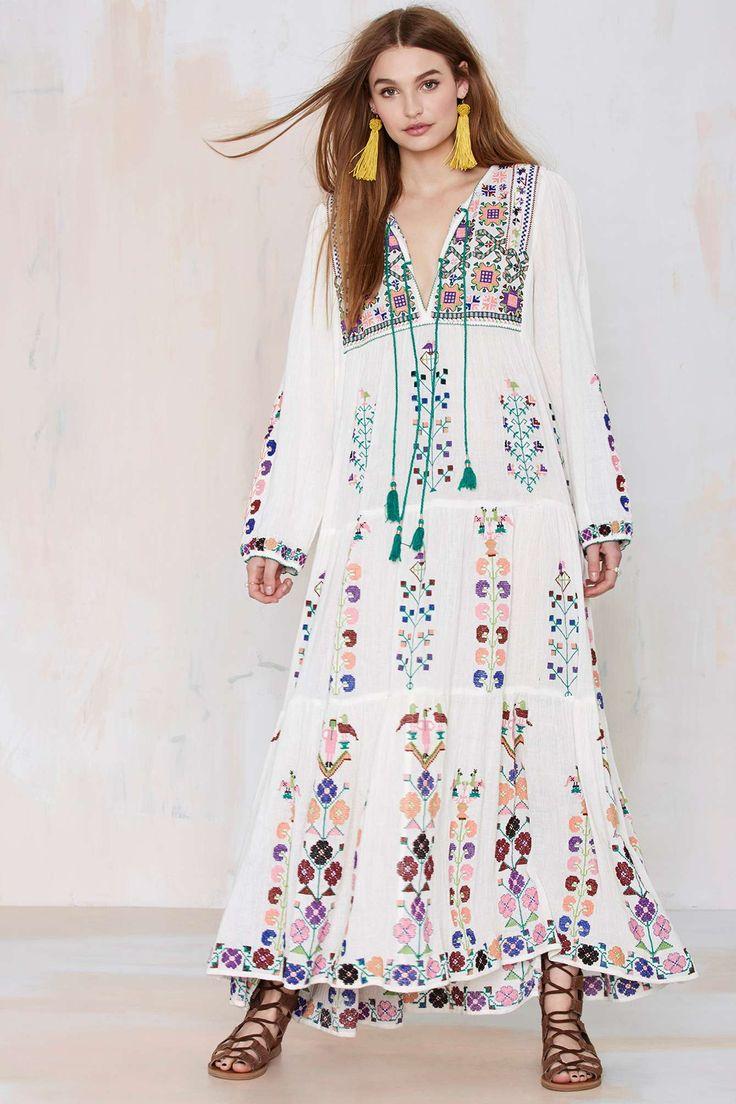 Blue Barcelona Embroidered Dress @NastyGal