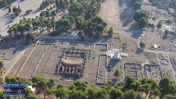 World & Drons EU Greece : Sanctuary of Asclepius at Epidaurus Greek Ἐπίδαυρος Epidauros Aerial