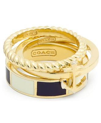 COACH ANCHOR STRIPE STACKING RING - COACH - Handbags & Accessories - Macys - $88.00