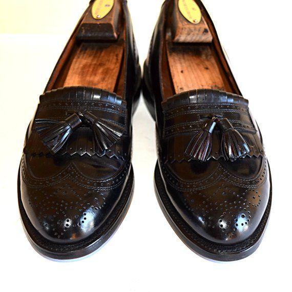a2c3f2b186b Men s Size 8 M Bostonian WingTip Loafers Brogue Shoes Tassel Goodyear Welt  Men s Slip Ons Refurbished Shoes Mens Black Dress Shoes New Heels