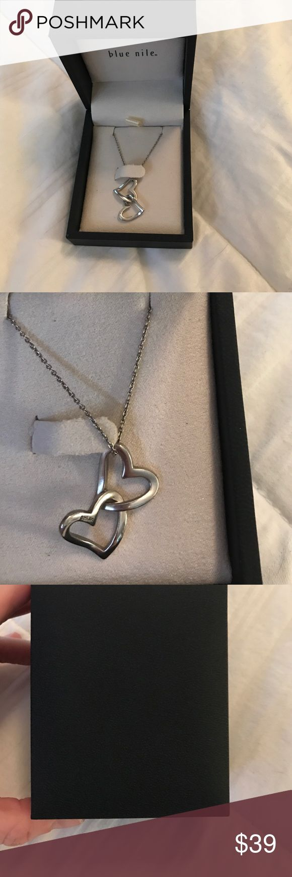 Blue Nile Double Heart Sterling Silver pendant Beautiful necklace, never worn still in the box. Blue Nile Jewelry Necklaces